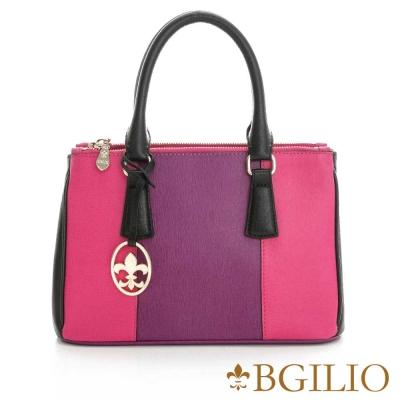 義大利BGilio-十字紋牛皮雙色都會簡約手提包-桃紫紅色 1951.005A-10