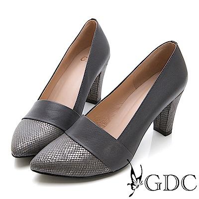 GDC-真皮高雅蛇紋拼接尖頭淑女跟鞋-藍灰色