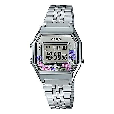 CASIO玫瑰花春樣氣息復古系列百搭時尚數位錶LA-680WA-4C淡粉28.6mm