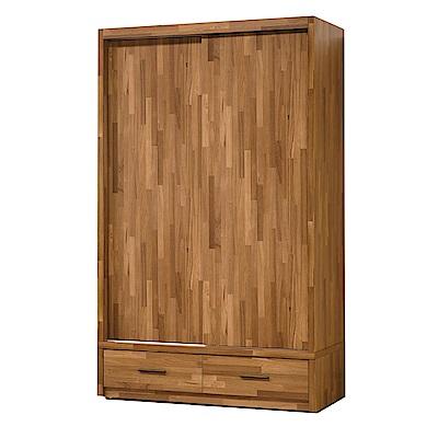 品家居 史崔西4尺柚木紋二門三抽衣櫃-119x57.5x197cm免組