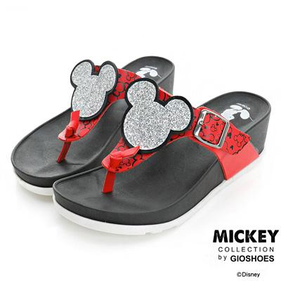 DISNEY 慵懶時尚 閃亮米奇頭夾腳楔型拖鞋-紅(女)