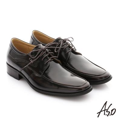 A.S.O 菁英通勤 鏡面摔花牛皮綁帶奈米紳士鞋 茶色