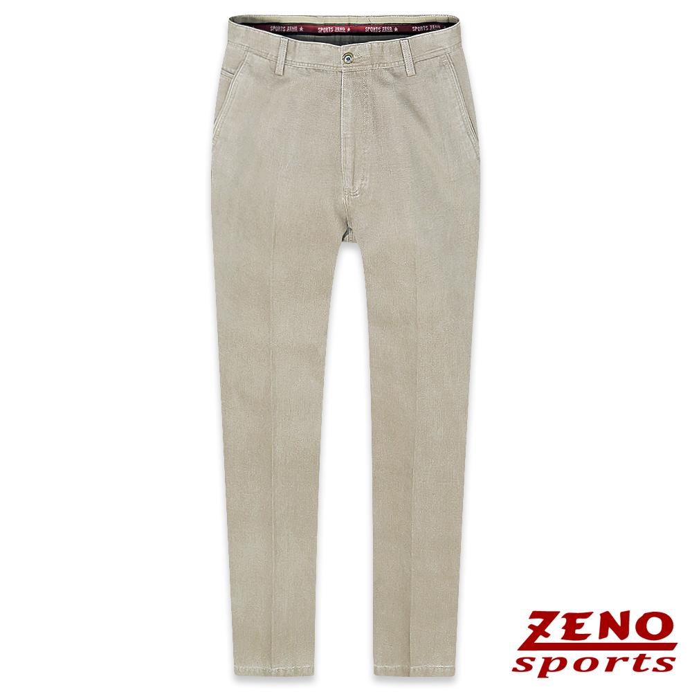 ZENO 簡約厚棉直紋無摺休閒褲‧淺褐30-42