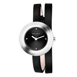 ELIXA Finesse系列銀框 黑色晶鑽錶盤/皮革纏繞式錶帶28mm