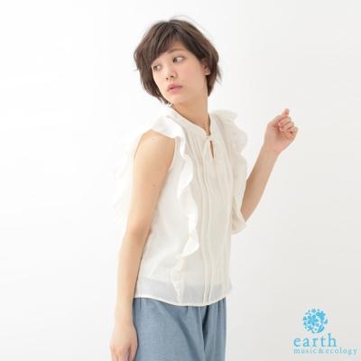 earth music 荷葉邊綁帶無袖雪紡上衣