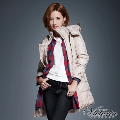 Victoria 格紋長版長袖襯衫-女-紅灰格