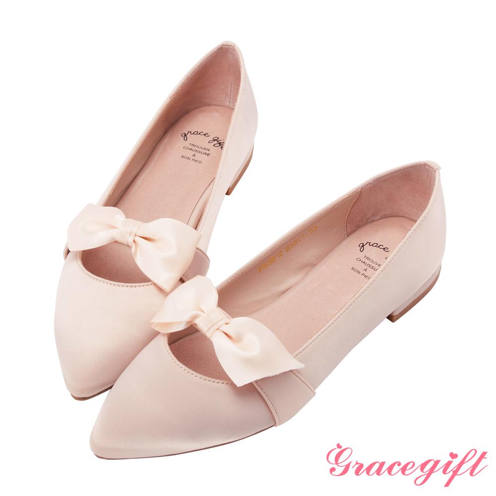Grace gift-緞面蝴蝶結條帶平底鞋粉