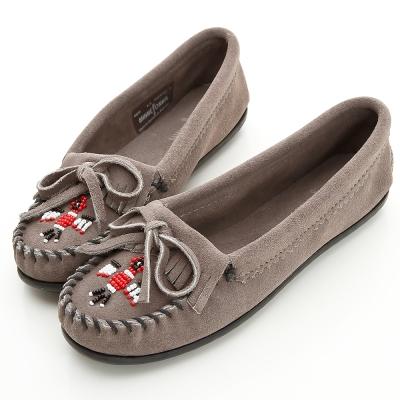 MINNETONKA 灰色麂皮串珠小雷鳥莫卡辛 女鞋