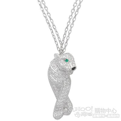 Cartier卡地亞 PANTHÈRE DE 鑲鑽美洲豹雙鍊18K白金項鍊