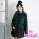 betty-s貝蒂思-格紋開釦混羊毛大衣-綠色