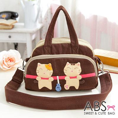 ABS貝斯貓 可愛貓咪拼布 手提斜背兩用小包88-182 - 咖啡