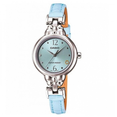CASIO 小資女孩新時尚指針皮帶腕錶(LTP-1385L-7A1)藍/25mm