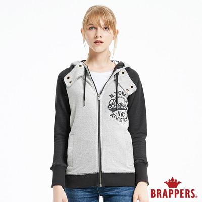 BRAPPERS 女款 雙色LOGO拉鍊休閒連帽外套-黑灰