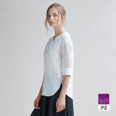 ILEY伊蕾 典雅蕾絲拼接雪紡上衣(白)