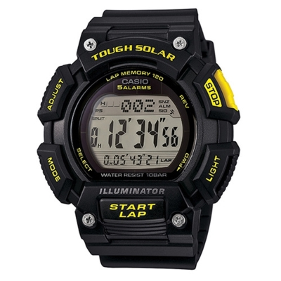 CASIO太陽能全方位亮眼配色運動風數位錶(STL-S110H-1C)-黃x黑/52.7mm