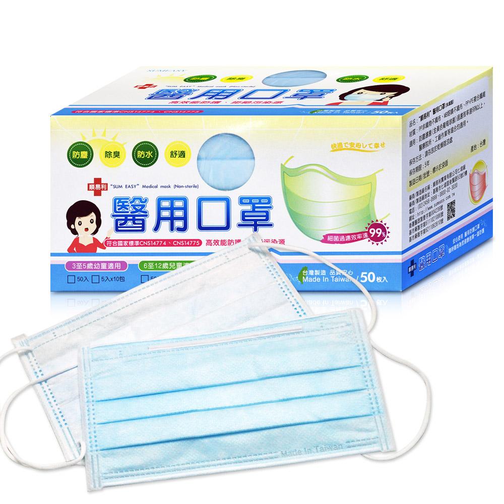 順易利 醫用口罩-藍色(50片/盒)