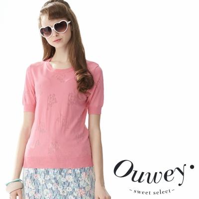 OUWEY歐薇 透感玫瑰花園針織上衣 (共3色)