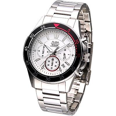 ALBA-時尚系3眼計時腕錶-AT3155X1-白x黑框-41mm