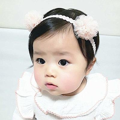 Baby unicorn 淺粉雙網紗花朵髮帶