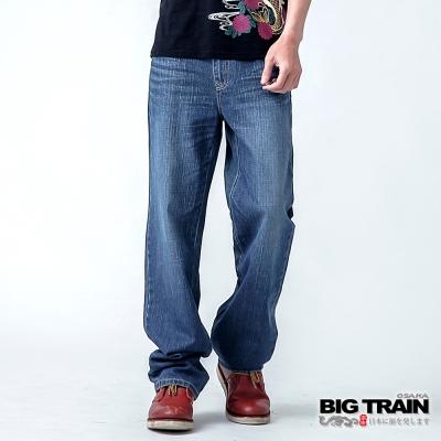 BIG TRAIN 高腰中直筒褲-男-淺藍