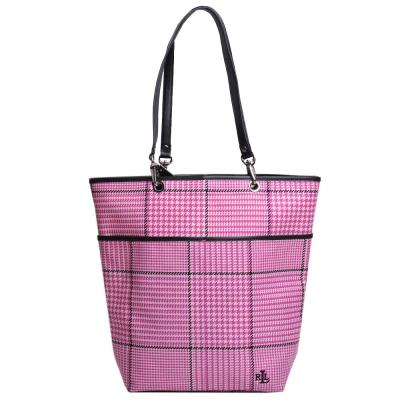 Ralph Lauren 品牌LOGO圖騰刺繡尼龍千鳥格手提肩背托特包(粉紅格)