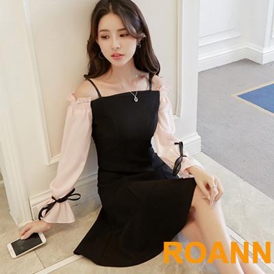 一字領喇叭袖露肩洋裝 (黑色)-ROANN