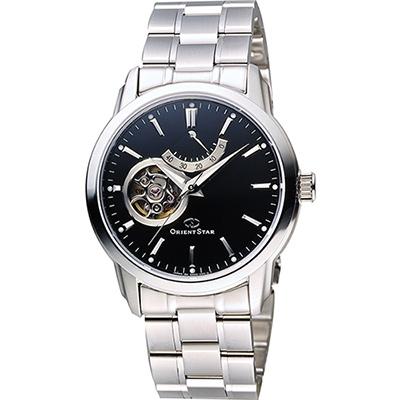 ORIENT 東方錶 開芯動力儲存機械男錶-黑x銀/39mm