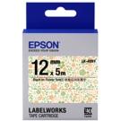 EPSON C53S654463 LK-4DBY 綠意花田底黑字標籤帶(寬12mm)