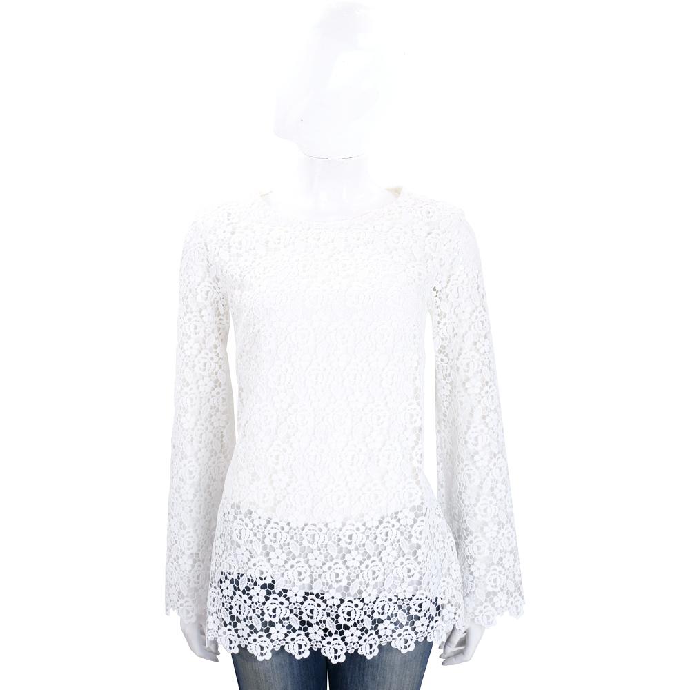 ERMANNO SCERVINO 白色織花長袖蕾絲上衣