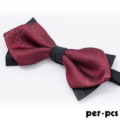per-pcs 雙層黑配紅蝴蠂結領結_黑紅(001-108)