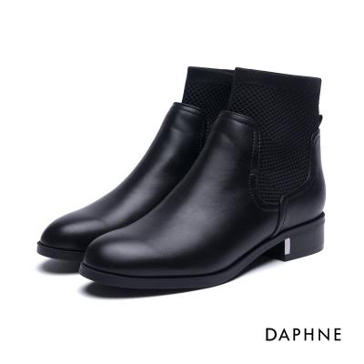 達芙妮DAPHNE 短靴-金屬飾片拼接彈性布牛紋踝靴-黑