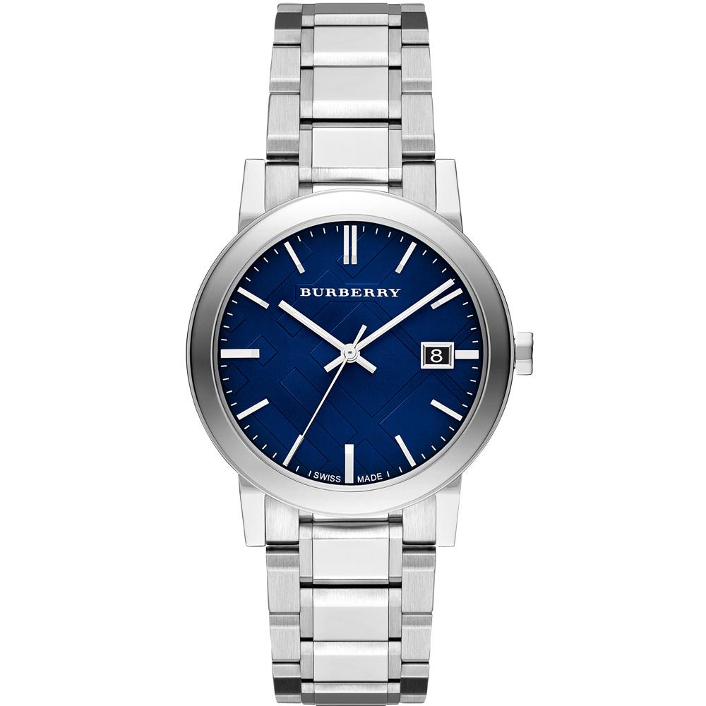 BURBERRY The City 英倫時尚格紋腕錶-藍/38mm