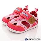 日本月星頂級童鞋 護趾機能涼鞋 BEI74粉(寶寶段)
