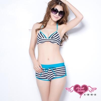 天使霓裳 甜美夏季 二件式比基尼鋼圈泳衣(藍M~XL)