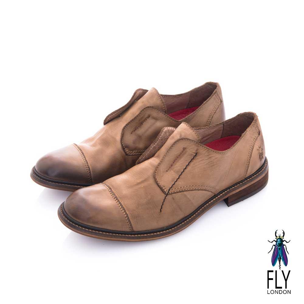 Fly London(男) 自由派 無帶直套牛皮直套皮鞋 - 文學棕