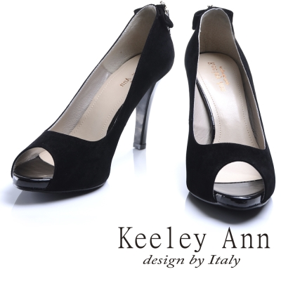 Keeley Ann高雅奢華~魅力菱形水鑽墜飾素面高跟魚口鞋(黑色)