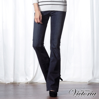 Victoria-V字雙色鑽中高腰靴型褲-女-深藍
