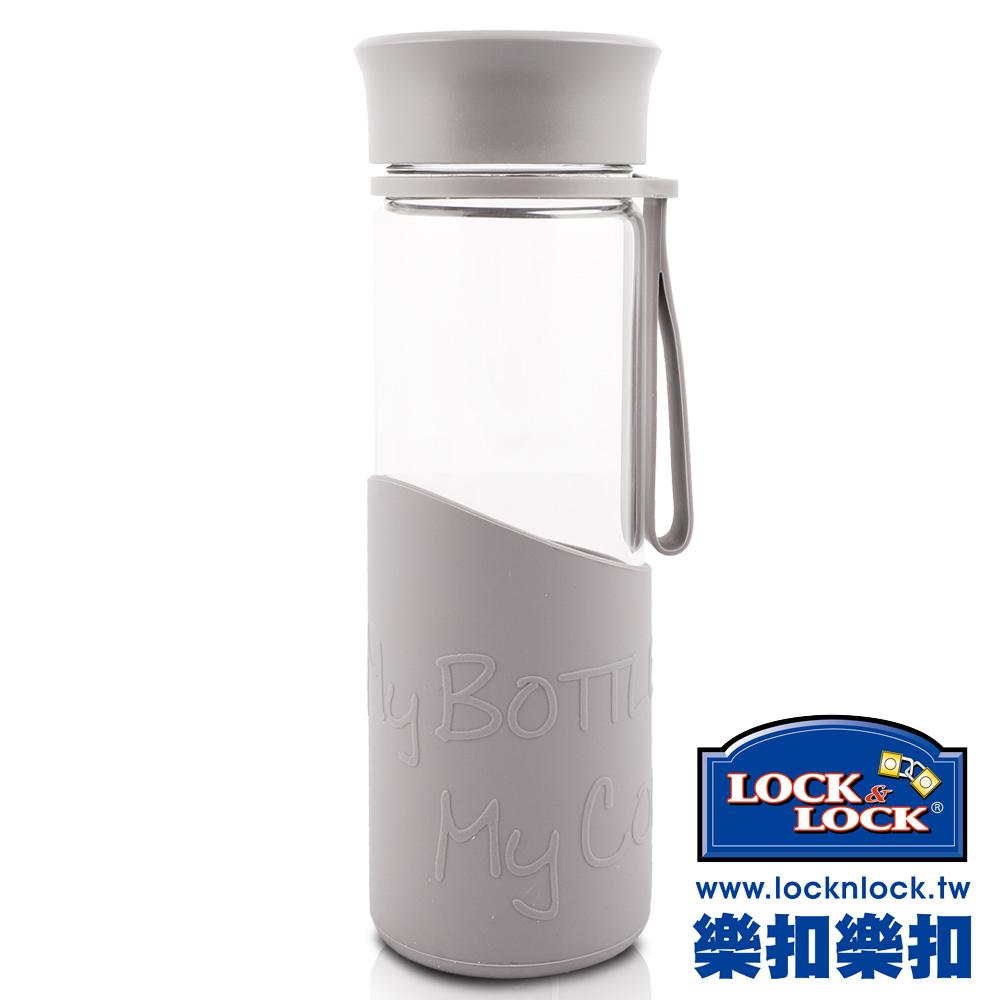 樂扣樂扣 AQUA系列矽晶提帶耐熱玻璃水杯500ML(字體灰)(8H)