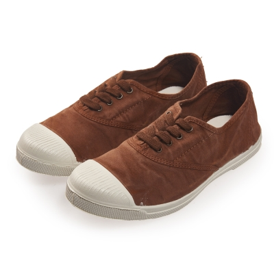 (女)Natural World 西班牙休閒鞋 刷色4孔綁帶基本款*咖啡色