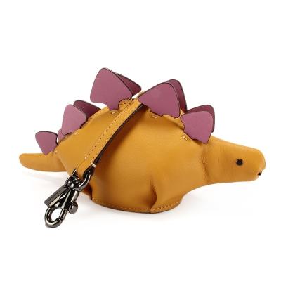 COACH STEGGY可愛劍龍造型撞色皮革吊飾零錢包-黃/粉紫色(附盒)
