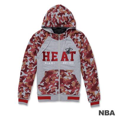 NBA-邁阿密熱火隊繡花迷彩連帽鋪棉外套-紅色(男)