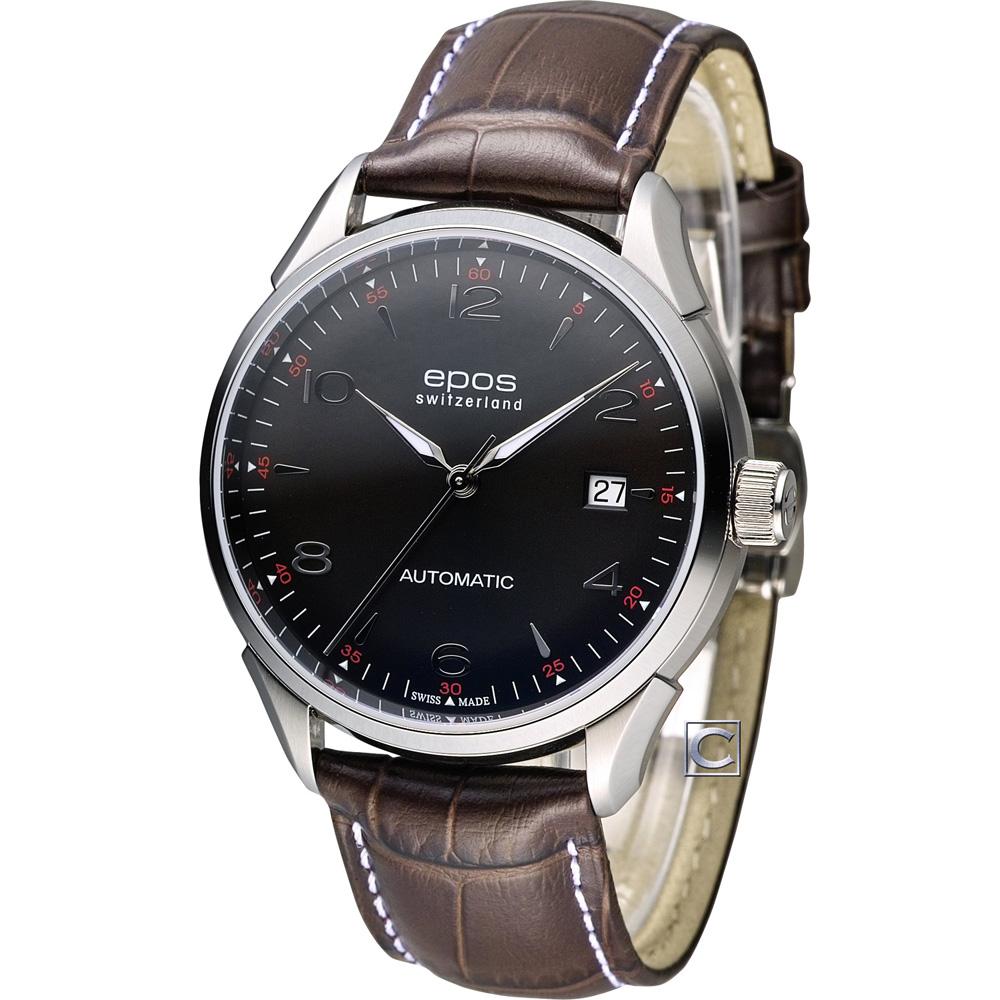 epos Originale 原創系列復古自動機械腕錶-咖啡黑/40mm