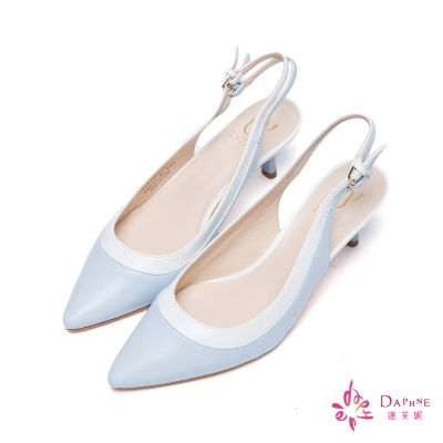 達芙妮x高圓圓 圓漾系列雙環扣帶拼接撞色高跟鞋-靚麗淺藍