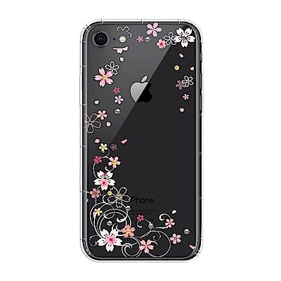 【SSTAR】iPhone 7/8 彩繪水鑽空壓防摔殼-櫻花舞