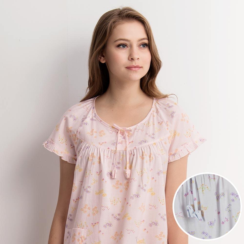 羅絲美睡衣 - 繽紛花季短袖洋裝睡衣(藍空色)
