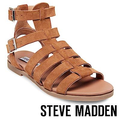 STEVE MADDEN-DIEGO 魚骨編織羅馬涼鞋-咖啡