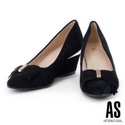 跟鞋 AS 獨特流蘇蝴蝶結造型羊麂皮尖頭楔型跟鞋-黑