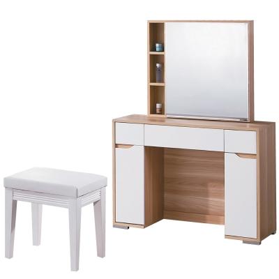 品家居 米琪3.3尺化妝鏡台含椅-100x40x145cm-免組