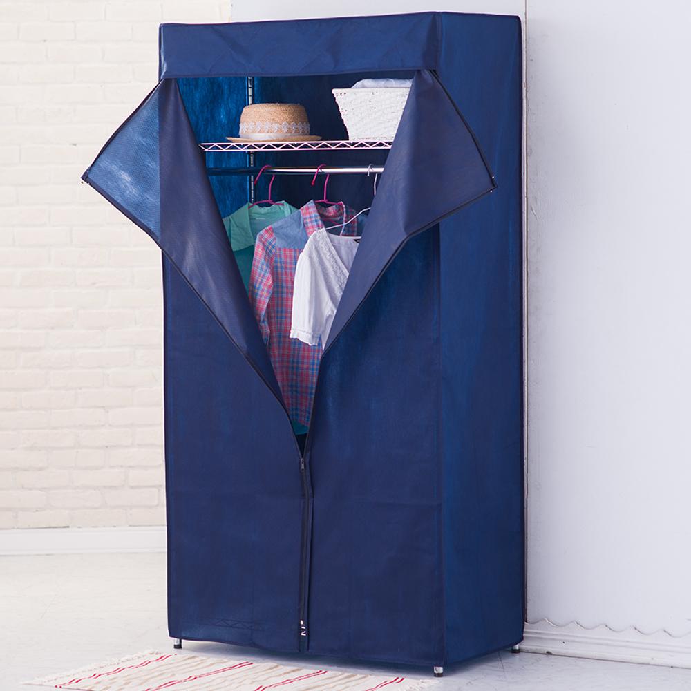 樂活家~三層波浪衣櫥架(附布套)120x45x180cm隨機出貨不選色