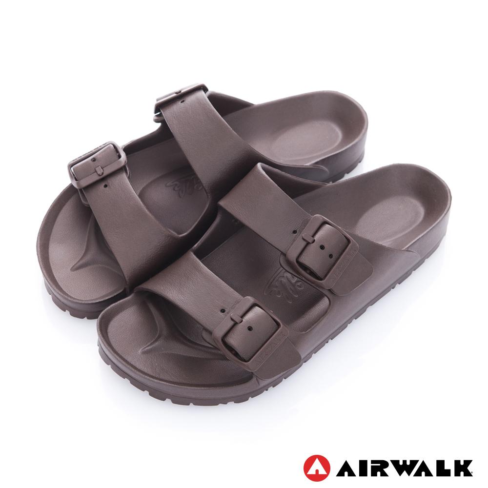 【AIRWALK】休閒雙扣環室內外AB拖鞋-咖啡